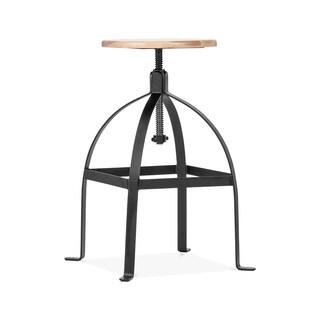 Turner Black 25-30-inch Adjustable Barstool and Wood Seat