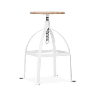 Turner White Wooden Seat 25-30-inch Adjustable Barstool