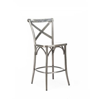 Cross-back Clear Gunmetal Steel 24-inch High-back Counter Chair (Set of 2)