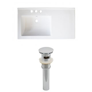 34-in. W x 18-in. D Ceramic Top Set In White Color And Drain