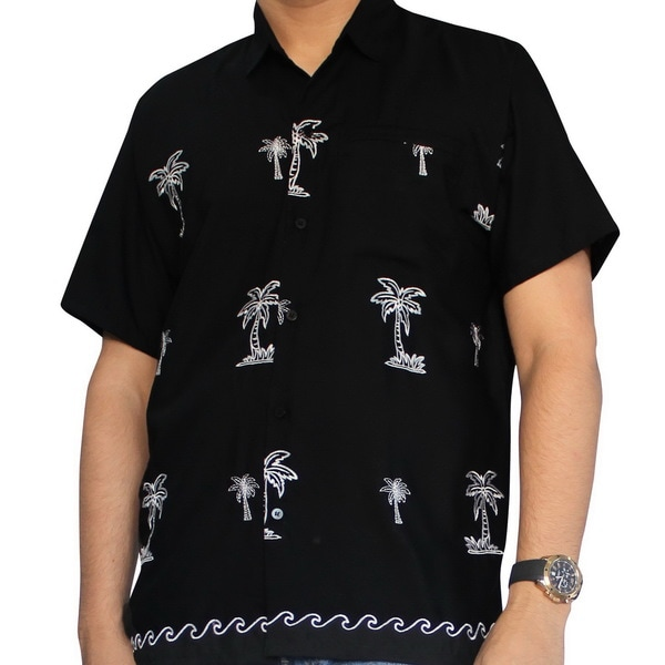 La Leela Men's Black and White Rayon Button-down Palm Tree Shirt