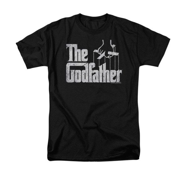 Men's 'The Godfather' Logo Black Cotton Graphic T-shirt