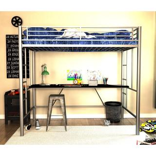 DHP Twin Silver Metal Loft Bed with Desk