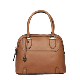 London Fog Women's Kensington Cognac PVC Dome Satchel Handbag