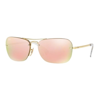 Ray-Ban Men's RB3541 001/2Y Gold Metal Rectangle Sunglasses