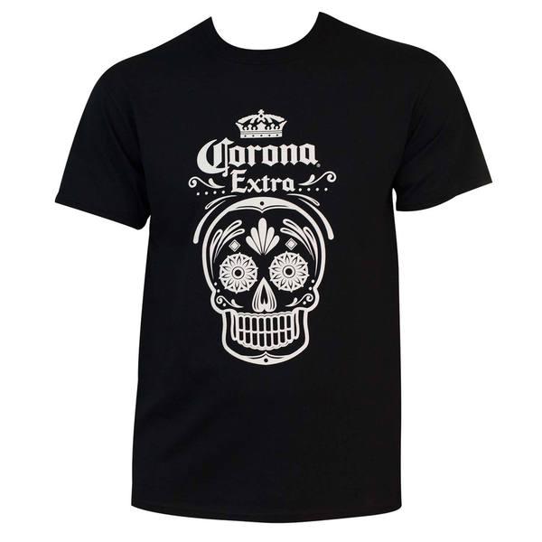 Men's Corona Dia De Los Muertos Black Cotton/Polyester Graphic T-shirt