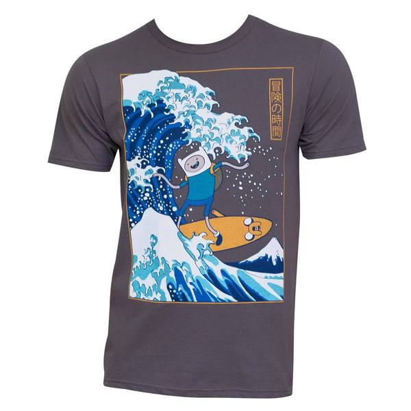 Men's Adventure Time 'Surfing The Great Wave' Japanese T-shirt