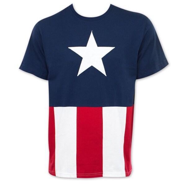 Men's Captain America Stitched Flag T-shirt