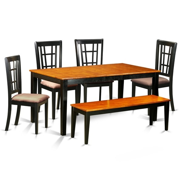 NICO6-BLK Black Rubberwood 6-piece Kitchen Table Set Including Dining Table and 4 Dining Chairs Plus Bench