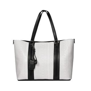 London Fog Regent Beige/White PVC Tote Handbag