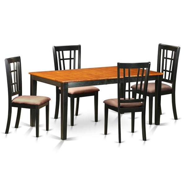 piece dining room set with dining table and 4 solid wood chairs