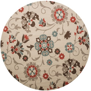Christopher Knight Home Roxanne Telca Indoor/Outdoor Silver Floral Rug (8' Round)