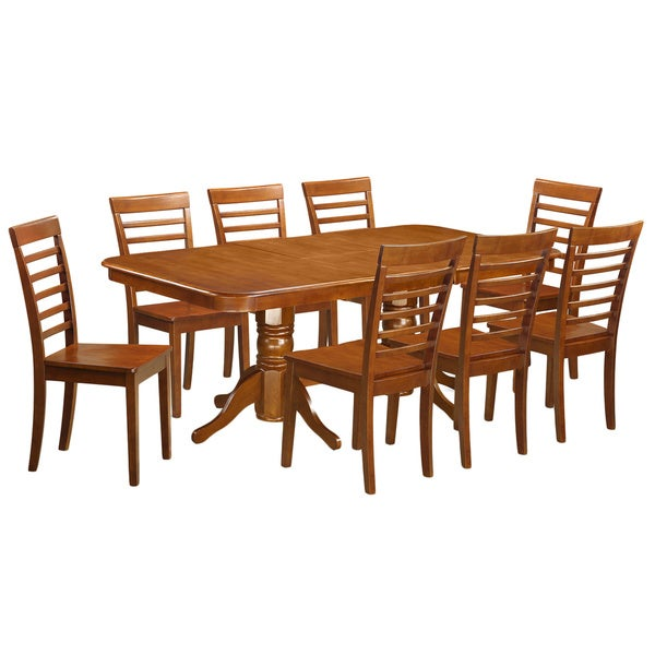 Naml9 sbr 8 chair 9 piece dining room table set with leaf for 9 piece dining room set with leaf