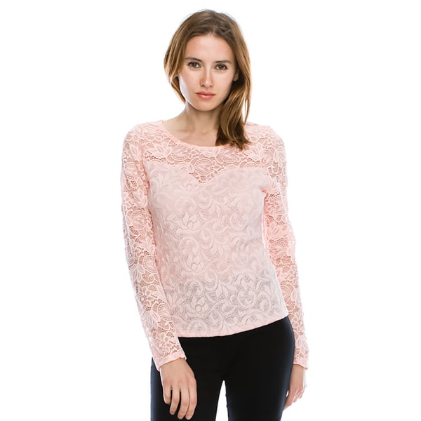 Cleo Polyester and Spandex Floral Lace Long-sleeved Top