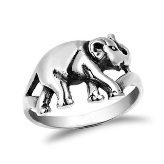 Handmade Jungle Elephant Sterling Silver Band Ring Size (Thailand)