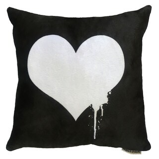 Maxwell Dickson Black, White Polyester 18-inch x 18-inch Heart Throw Pillow