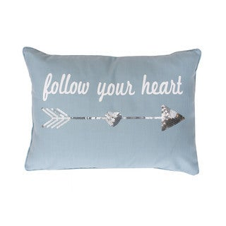 Follow Your Heart Sequined Feather-filled Throw Pillow