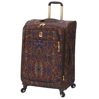 London Fog Soho Collection Brown Paisley 25-inch Expandable Upright Spinner Suitcase