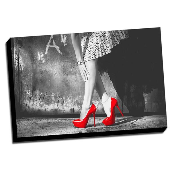 Red Heels Color Splash Printed Framed Canvas