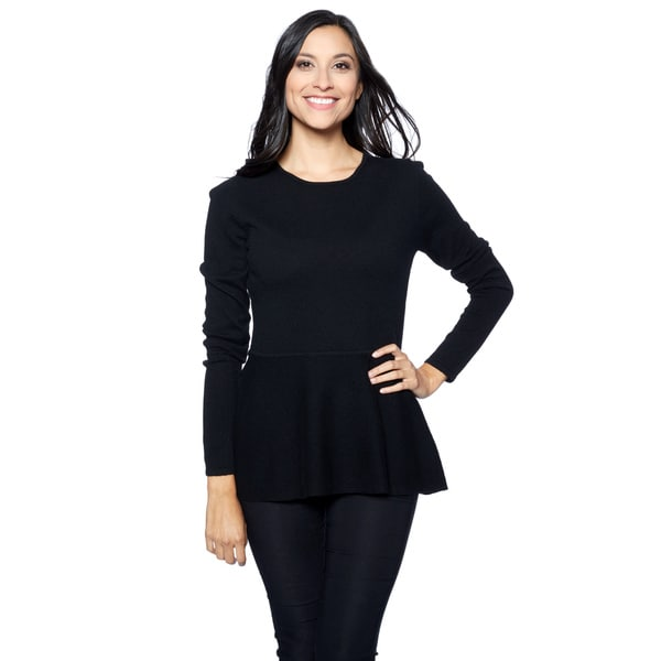 Ply Cashmere Women's Black Long-sleeve Crewneck Hi-lo Peplum Top