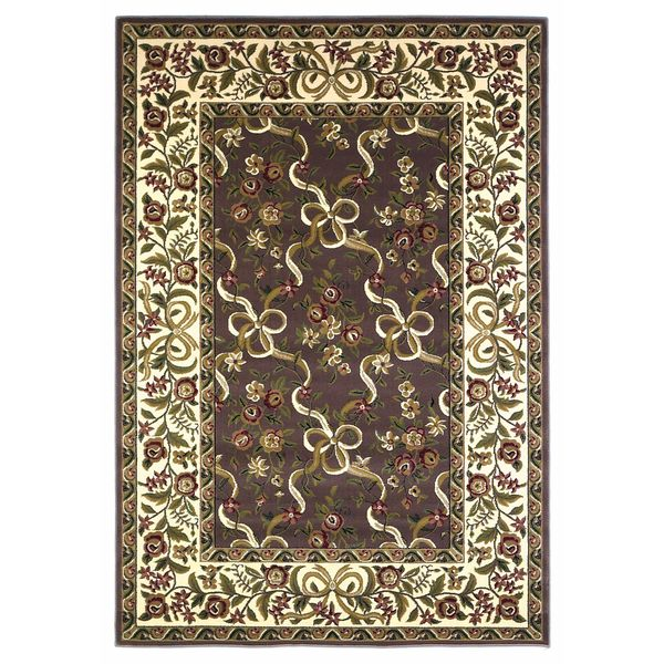 KAS Cambridge 7311 Plum and Ivory Floral Ribbons Polypropylene Rug (7'7 Round)