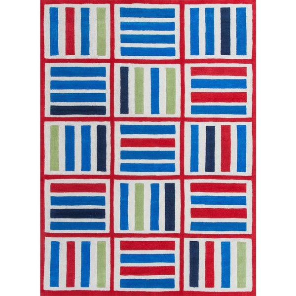 KAS Kozy Kids 0557 Elements Blue/Red Polyester/Cotton Rug (3' Round)