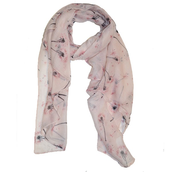 Dandelion Pink Polyester Flower-printed Wrap Scarf