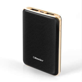 BasAcc 6000mAh Black/ Rose Gold Frame Anti-Slippery Design Slim 2-port USB Power Bank with LED Battery Capacity Indicator