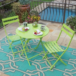 Corvus Eta Green Steel 3-piece Folding Patio Bistro Set