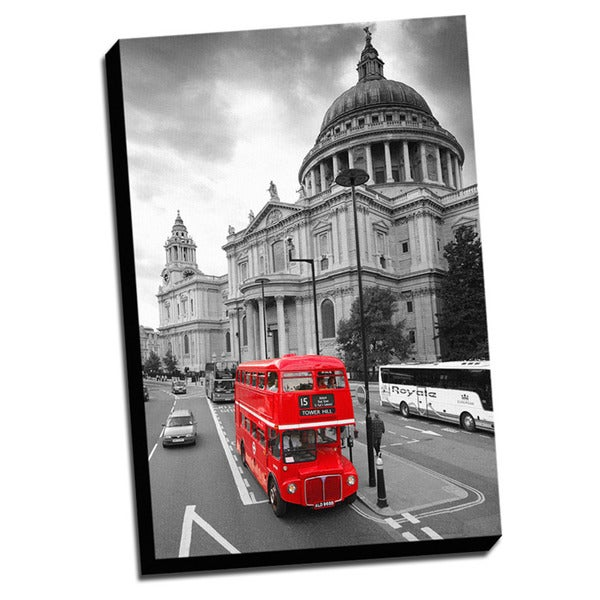 London Red Bus Color Splash Printed Framed Canvas