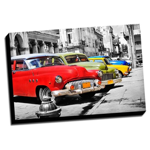 Vintage Cars Color Splash Printed Framed Canvas