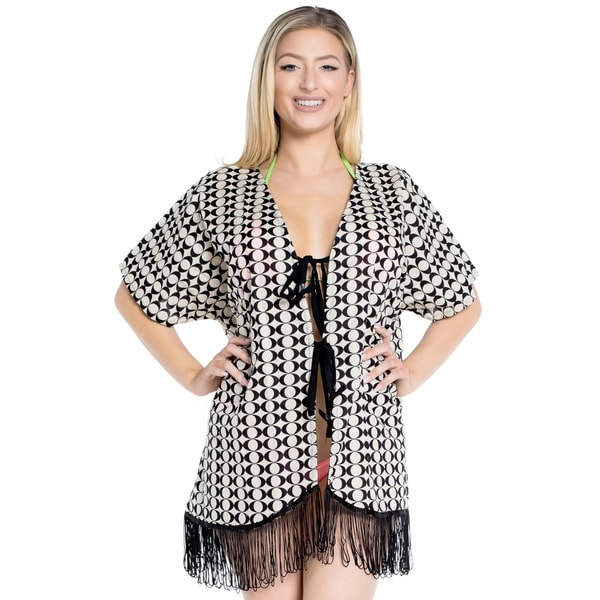 La Leela Women's Beachwear Bikini Swimwear COTTON Swimsuit Shrug Cardigan Kimono Cover up