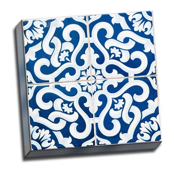 Patchwork Tiles Blue 2 Canvas Artwork