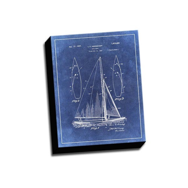 Sail Boat Blue Patent Drawing Printed Canvas