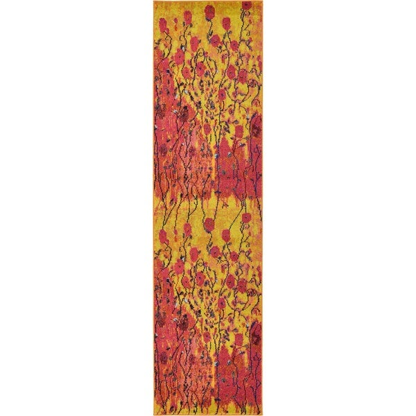 Unique Loom Barcelona Yellow/Red/Blue Runner Rug ( 2'7 x 10')