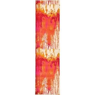 Unique Loom Barcelona Pink/Purple/Gold/Off-white Polypropylene Runner Rug ( 2' 7 x 10' )