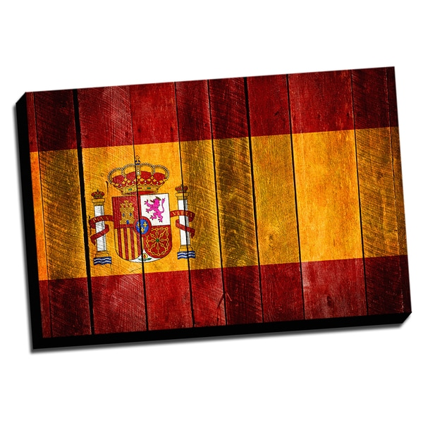 Spain Distressed Flag Stretched Canvas Wall Art