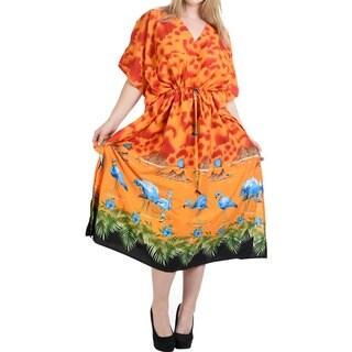 La Leela Women's Orange Silk 2-in-1 Nightgown Dress Beach Cloudy Flamingo Likre Maxi Kimono