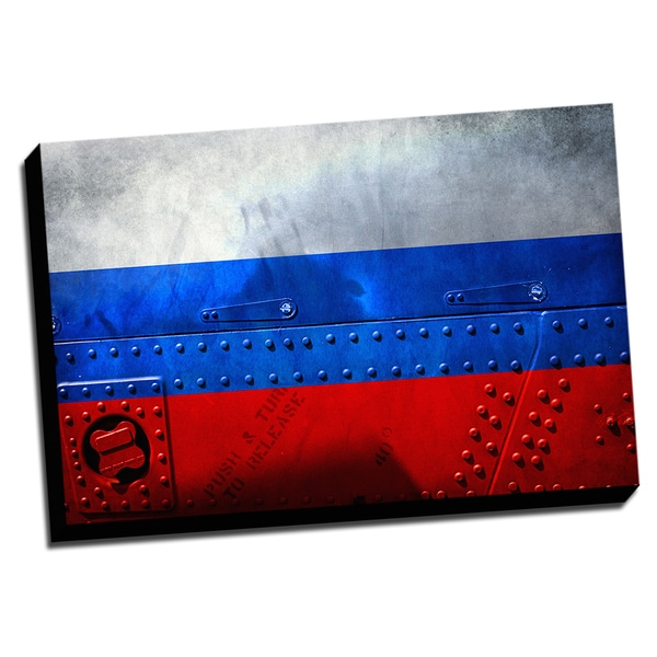 Russia Distressed Flag Stretched Canvas Wall Art