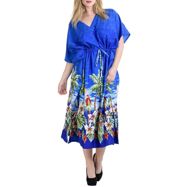 La Leela Smooth Likre Palm Tree Bird Dress Women Kimono Kaftan Maxi Royal Blue