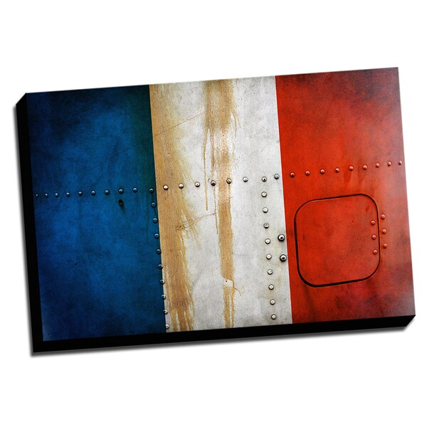 France Distressed Flag Stretched Canvas Wall Art