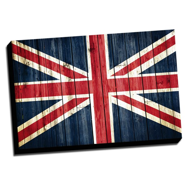 England Distressed Flag Stretched Canvas Wall Art