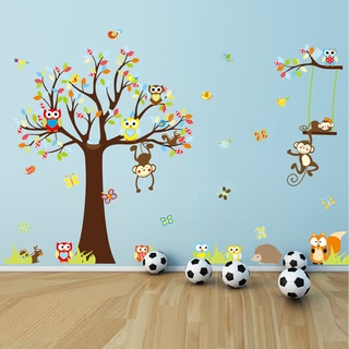 HomeSource Forest of Monkeys and Friends Multicolor 12-inch x 36-inch Removable Wall Graphic