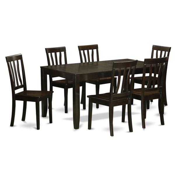 LYAN7 CAP Black Rubberwood 7 Piece Dining Room Set With Leaf 18877383 Ove