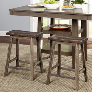 Simple Living Marney Rubberwood 24-inch Counter-height Saddle Stools (Set of 2)