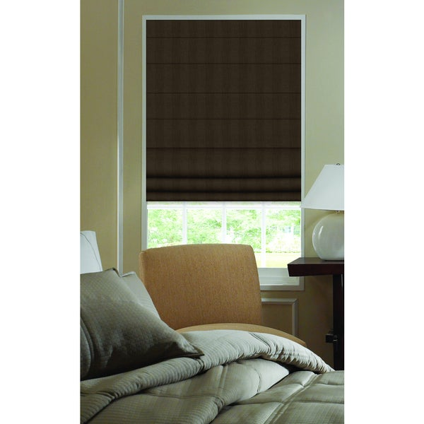 Chocolate Brown Polyester 27-inch to 27.5-inch Ashton Stripe Plain Fold Roman Shades
