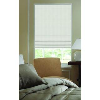 Ashton Ivory Polyester 28.5-inch Stripe Plain-fold Roman Shades