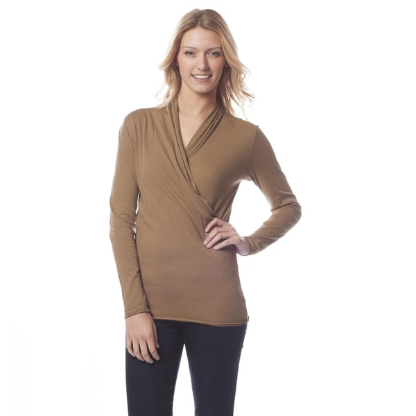AtoZ Women's Black Cotton Long Sleeve Wrap Top