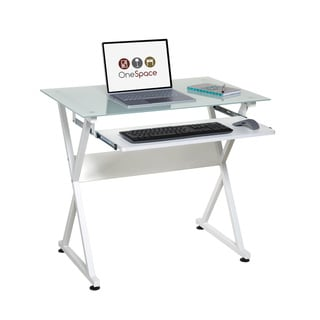 OneSpace 50-JN1201 White Ultramodern Glass Computer Desk with Pull-out Keyboard Tray