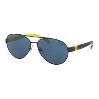 Polo Ralph Lauren Men's PH3098 911980 Blue Metal Pilot Sunglasses